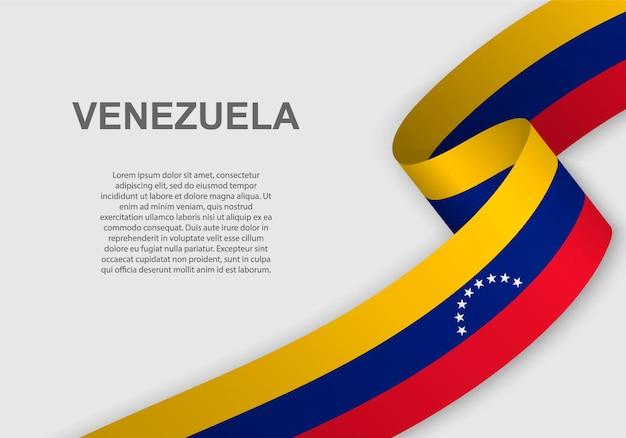 Развевающийся флаг венесуэлы. Premium векторы