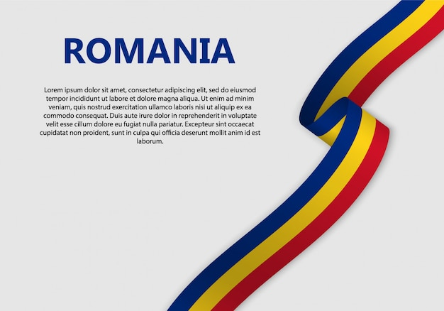 Waving flag of romania banner Premium Vector