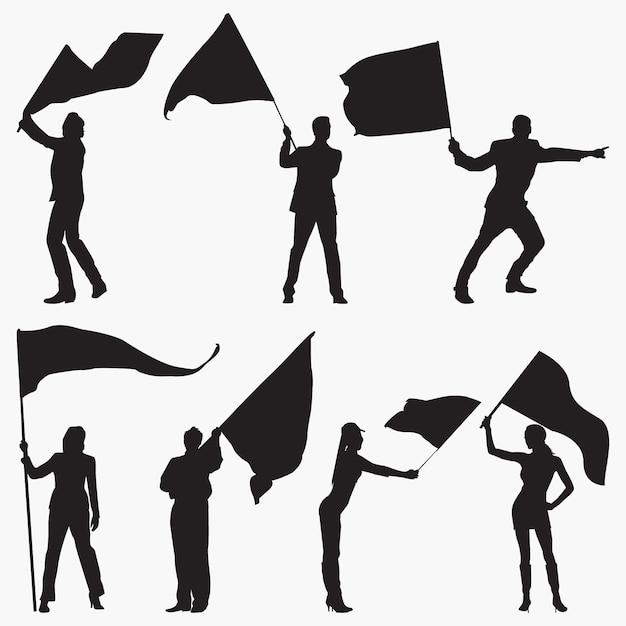 Waving flag silhouettes Premium Vector