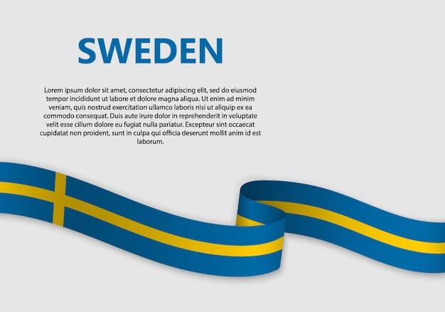 Waving flag of sweden banner Premium Vector