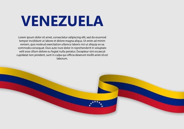 Waving flag of venezuela banner Premium Vector