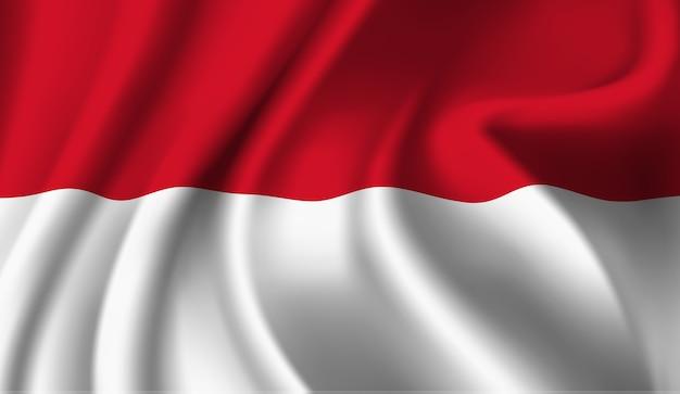 インドネシアの旗の抽象的なイラストを振ってください。 Premiumベクター