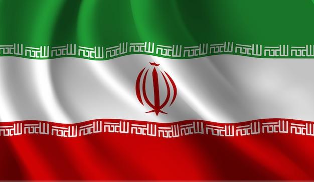 イランの旗を振って抽象的なイラスト Premiumベクター
