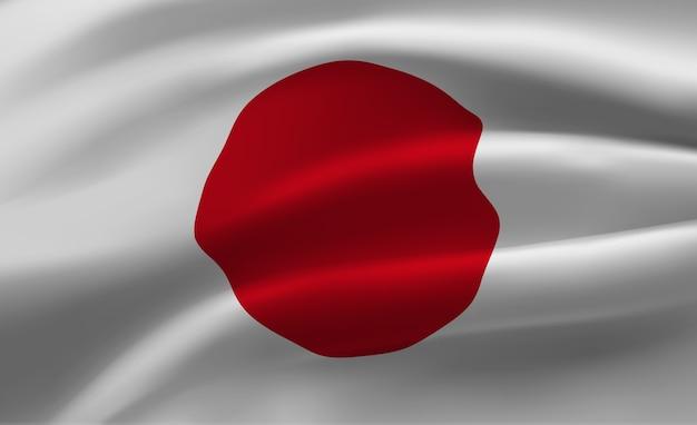 日本の旗の抽象的なイラストを振る Premiumベクター