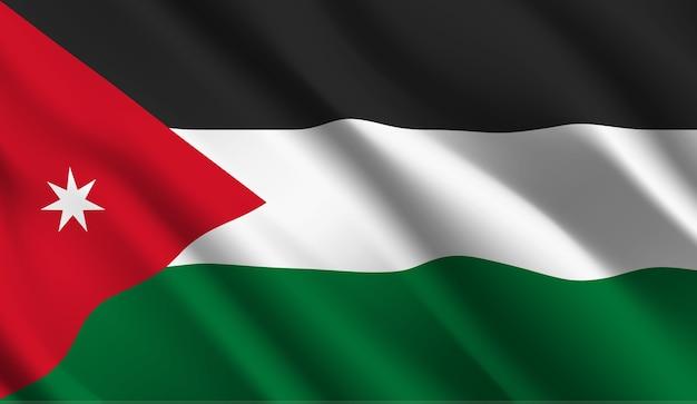 ヨルダンの旗を振って抽象的なイラスト Premiumベクター