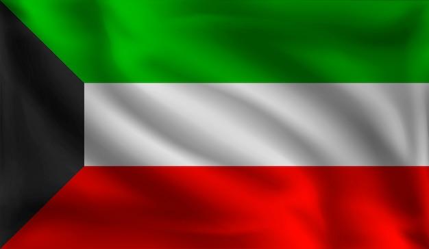 Waving kuwait's flag, the flag of kuwait Premium Vector