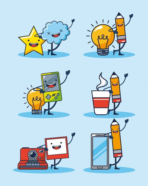 Waving objects stickers Free Vector