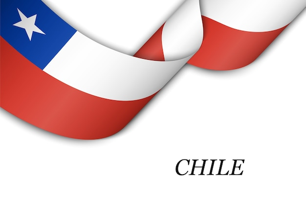 Waving ribbon or banner with flag of chile. Premium Vector
