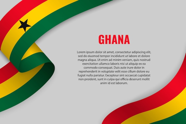 Waving ribbon or banner with flag of ghana Premium Vector