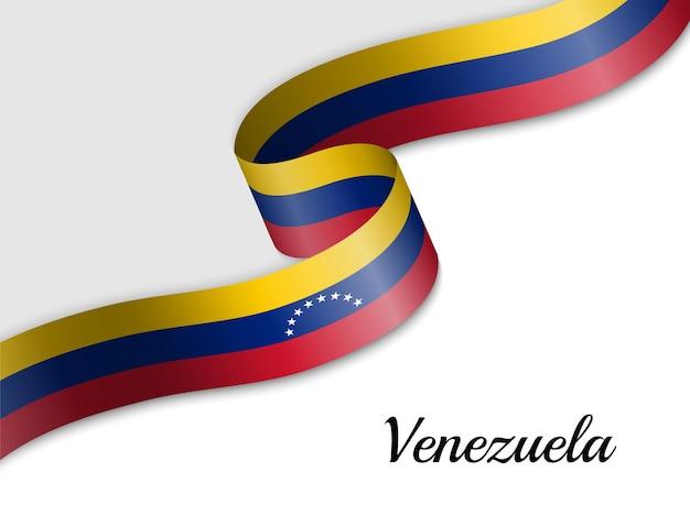 Развевающийся флаг венесуэлы ленты Premium векторы
