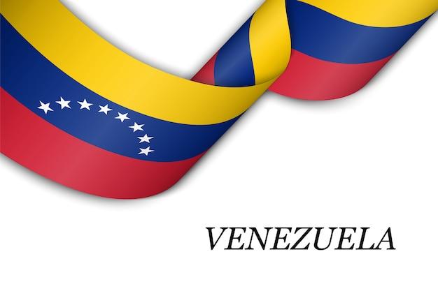 Размахивая лентой с флагом венесуэлы. Premium векторы