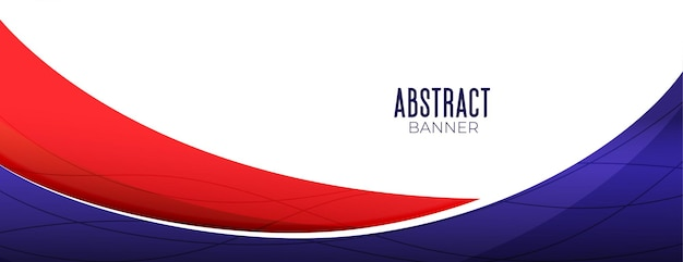 Wavy abstract business banner in red and purple color Free Vector