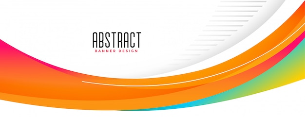 Wavy abstract orange shape wide banner design Free Vector