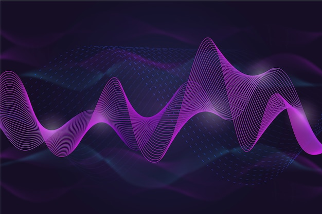 Wavy background violet and smokey lines Free Vector