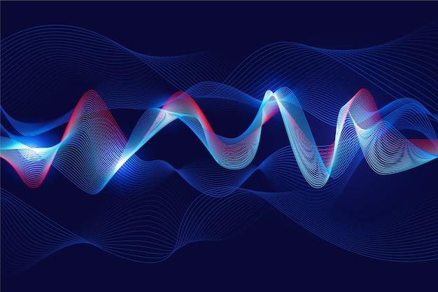 Волнистый фон белый свет в голубой концепции Бесплатные векторы