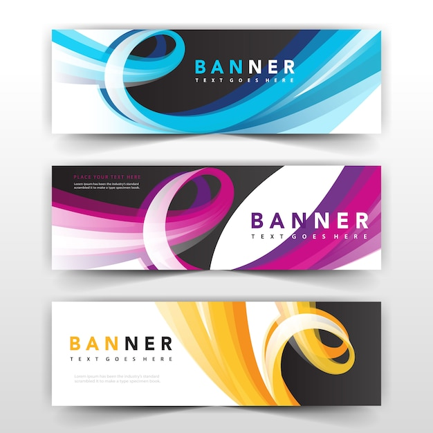 Wavy banner collection design Free Vector