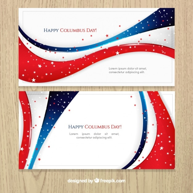 Wavy banners of columbus day Free Vector