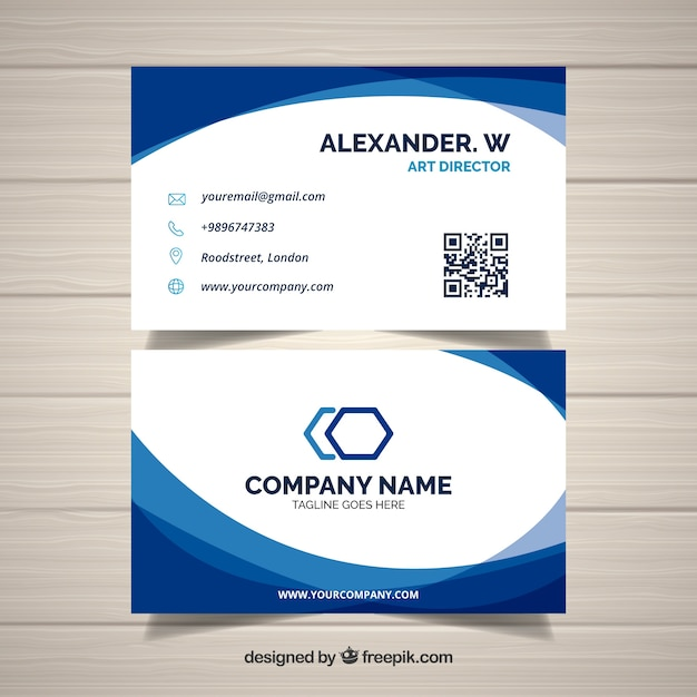 Wavy blue and white business card Free Vector