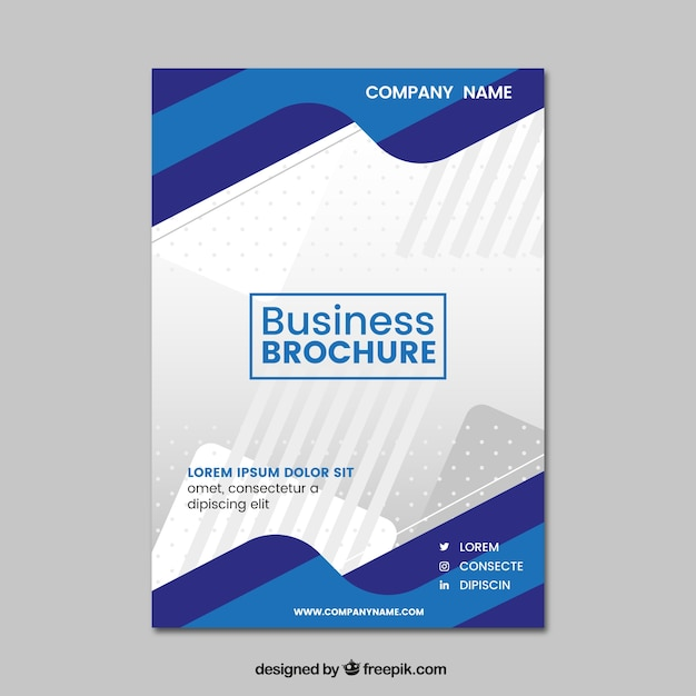 Wavy blue business brochure Free Vector