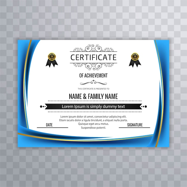 Download vector wavy blue certificate template vectorpicker wavy blue certificate template yelopaper Image collections