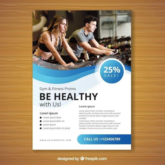 Wavy blue gym flyer template Free Vector