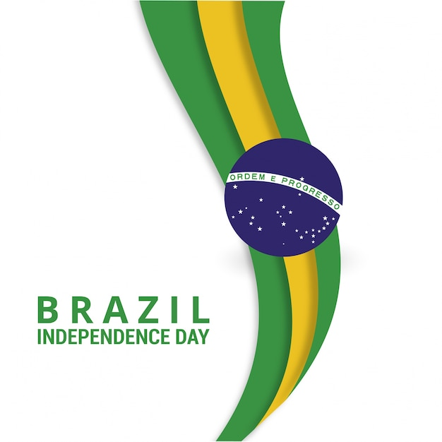 Wavy brazil independence day design Free Vector