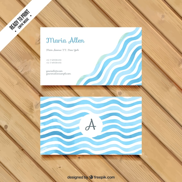 Wavy business card in watercolor style Free Vector