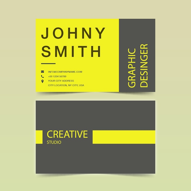 Wavy business card template Premium Vector