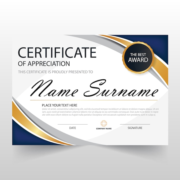 Wavy certificate of appreciation template vector free for Free certificate of appreciation template downloads