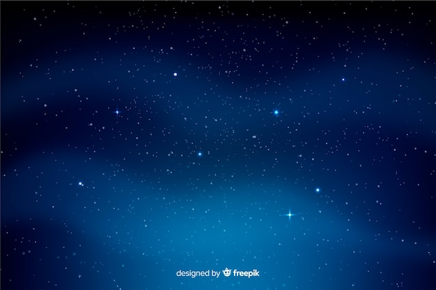 Wavy clouds and starry night background Free Vector