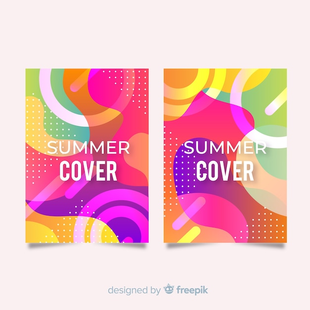 Wavy colorful summer cover collection Free Vector