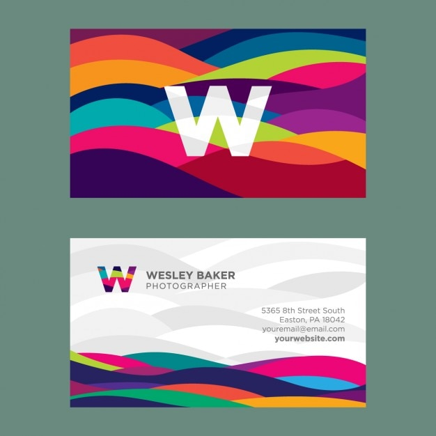 Wavy coloured business card Free Vector