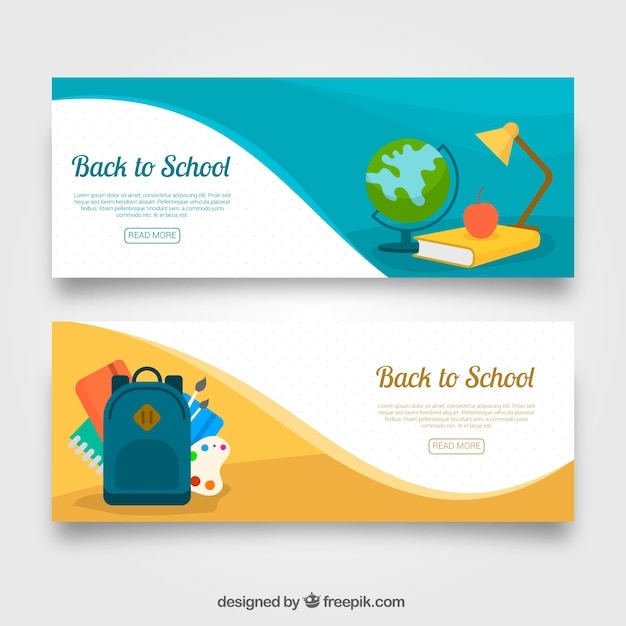Wavy flat back to school banners