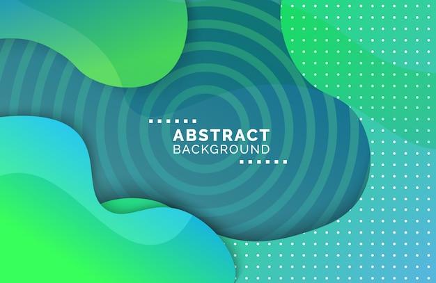 Wavy gradient liquid background with geometric shapes Premium Vector