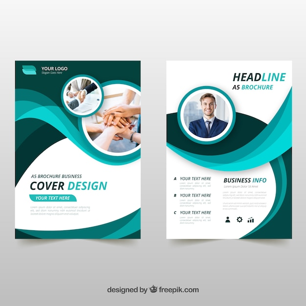 Wavy green business brochure Free Vector