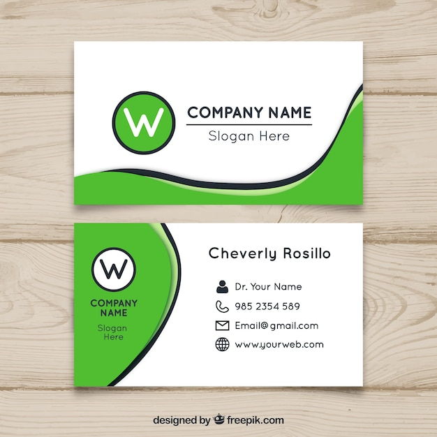 Wavy Green Business Card Design Vector Free Download