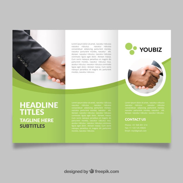 wavy green trifold flyer template vector free download