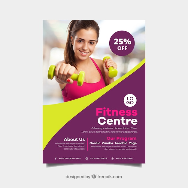Wavy gym cover template with image of woman Free Vector