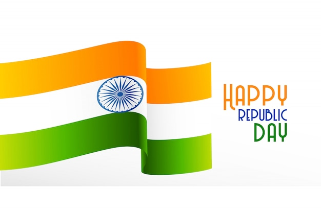 Wavy indian flag republic day background Free Vector
