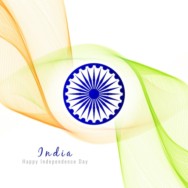 Wavy indian independence day design Free Vector