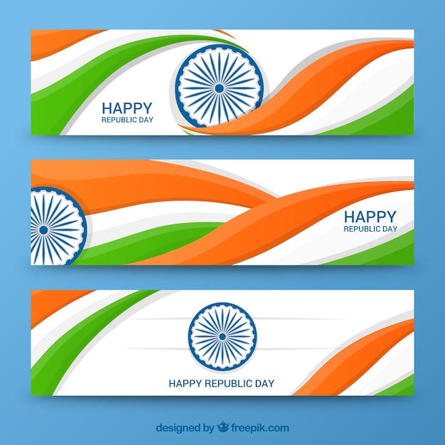 Wavy indian republic day banners