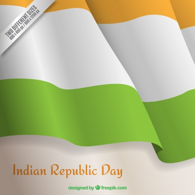 Wavy Indian republic day flag background