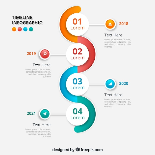 wavy infographic timeline design vector free download