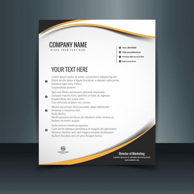 Wavy Letterhead Template Vector Free Download