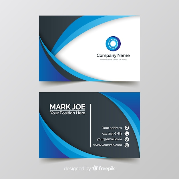 Wavy lines business card template Free Vector