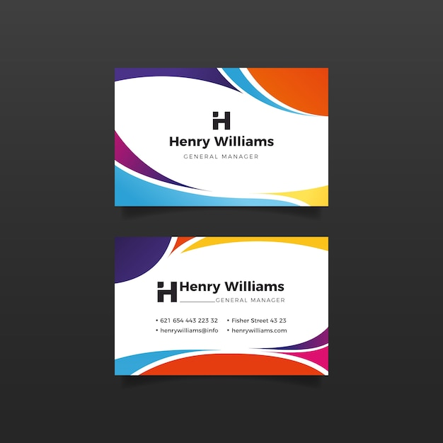 Wavy lines design for business card Free Vector