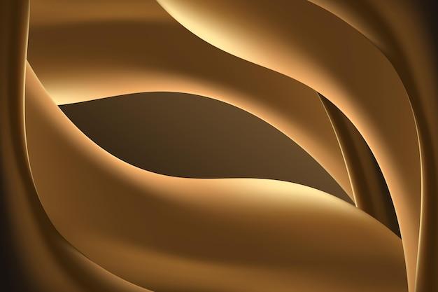 부드러운 황금 배경의 물결 선 무료 벡터