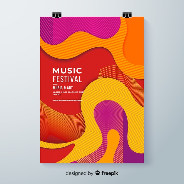 Wavy music festival poster Free Vector