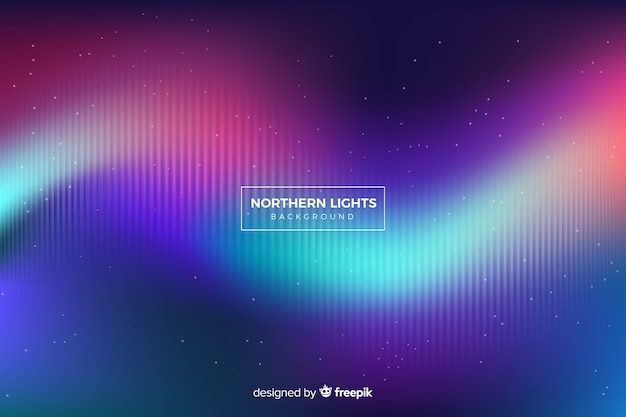 Wavy nothern lights with fading lines and stars Free Vector
