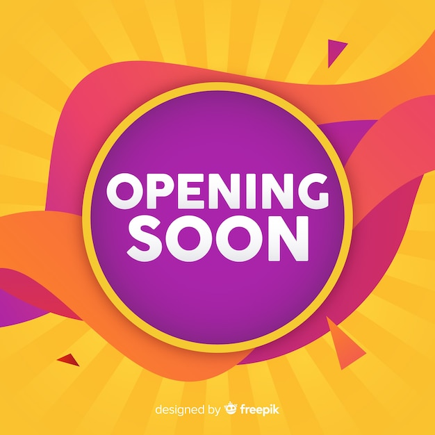 Wavy opening soon background Free Vector